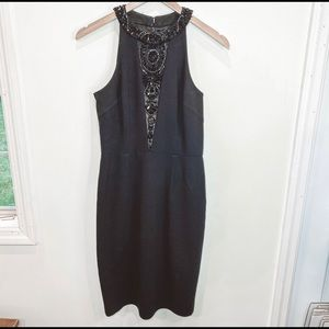 David Meister black beaded high neck dress size 4